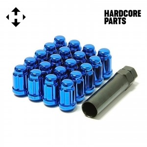 "20 QTY Blue Closed End Spline Drive Lug Nuts with Key- Metric 12x1.25 Threads - Conical Cone Taper Acorn Seat Closed End - 1.4"" Length - for Subaru, Nissan, Infiniti, & Suzuki + More"
