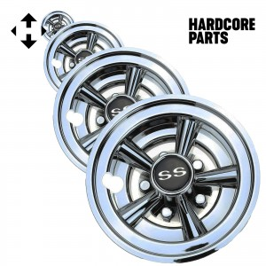 "Golf Cart 8"" Wheel Covers Hubcaps, Set of 4 - Fits EZGO, Club Car, Yamaha, Chrome SS Design"