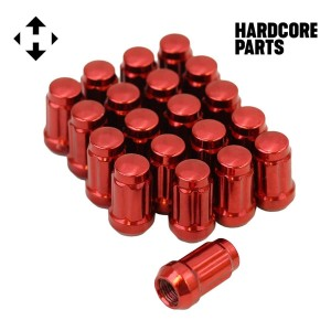 "20 QTY Red Closed End Spline Drive Lug Nuts with Key- Metric 12x1.5 Threads - Conical Cone Taper Acorn Seat Closed End - 1.4"" Length - for Honda Acura Toyota Mazda Hyundai+ More"