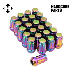 "24 QTY Neo Chrome Closed End Spline Drive Lug Nuts with Key- Metric 12x1.5 Threads - Conical Cone Taper Acorn Seat Closed End - 1.4"" Length - for Honda Acura Toyota Mazda Hyundai+ More"