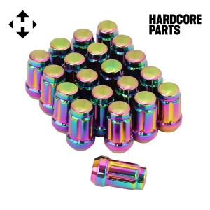 "20 QTY Neo Chrome Closed End Spline Drive Lug Nuts with Key- Metric 12x1.5 Threads - Conical Cone Taper Acorn Seat Closed End - 1.4"" Length - for Honda Acura Toyota Mazda Hyundai+ More"