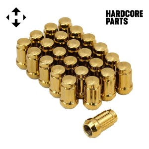 "24 QTY Gold Closed End Spline Drive Lug Nuts with Key- Metric 12x1.5 Threads - Conical Cone Taper Acorn Seat Closed End - 1.4"" Length - for Honda Acura Toyota Mazda Hyundai+ More"