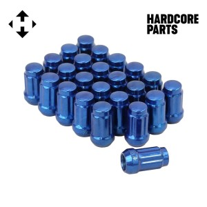 "24 QTY Blue Closed End Spline Drive Lug Nuts with Key- Metric 12x1.5 Threads - Conical Cone Taper Acorn Seat Closed End - 1.4"" Length - for Honda Acura Toyota Mazda Hyundai+ More"