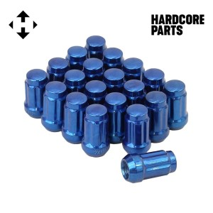 "20 QTY Blue Closed End Spline Drive Lug Nuts with Key- Metric 12x1.5 Threads - Conical Cone Taper Acorn Seat Closed End - 1.4"" Length, Fits Honda Acura Toyota Mazda Hyundai+ More"