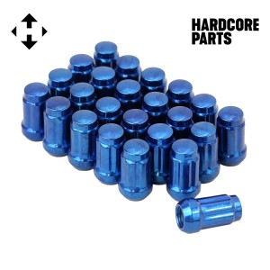 "24 QTY Blue Closed End Spline Drive Lug Nuts with Key- Metric 12x1.25 Threads - Conical Cone Taper Acorn Seat Closed End - 1.4"" Length - for Subaru, Nissan, Infiniti, & Suzuki + More"