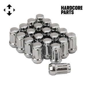 "20 QTY Chrome Closed End Spline Drive Lug Nuts with Key- Metric 12x1.5 Threads - Conical Cone Taper Acorn Seat Closed End - 1.4"" Length - Fits Honda Acura Toyota Mazda Hyundai+ More"