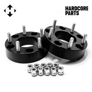 "2 QTY Black Wheel Spacers Adapters 2"" 5x5.5 (5x139.7) with 1/2-20 threads - Compatible with Dodge Ram 1500 Ford F100 F150 E100 E150 Bronco Jeep CJ3 CJ5 CJ6 CJ7 Scrambler"