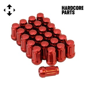 "24 QTY Red Closed End Spline Drive Lug Nuts with Key- Metric 12x1.5 Threads - Conical Cone Taper Acorn Seat Closed End - 1.4"" Length - for Honda Acura Toyota Mazda Hyundai+ More"