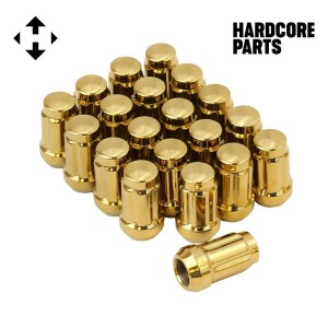 "20 QTY Gold Closed End Spline Drive Lug Nuts with Key- Metric 12x1.5 Threads - Conical Cone Taper Acorn Seat Closed End - 1.4"" Length - for Honda Acura Toyota Mazda Hyundai+ More"